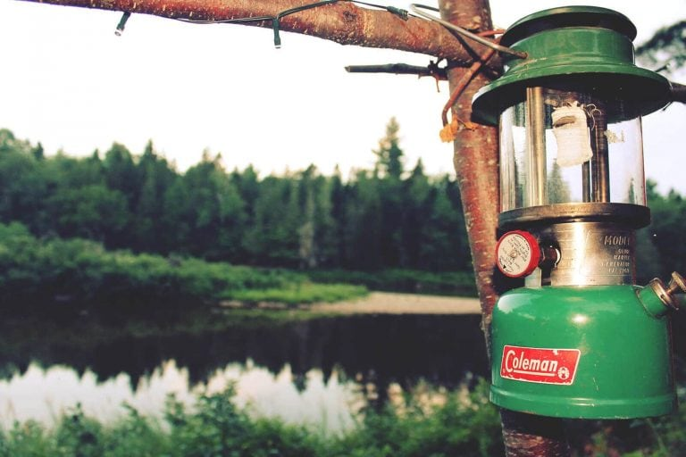 Green Coleman fuel lantern is fixed on a tree during the daylight next to still river forest