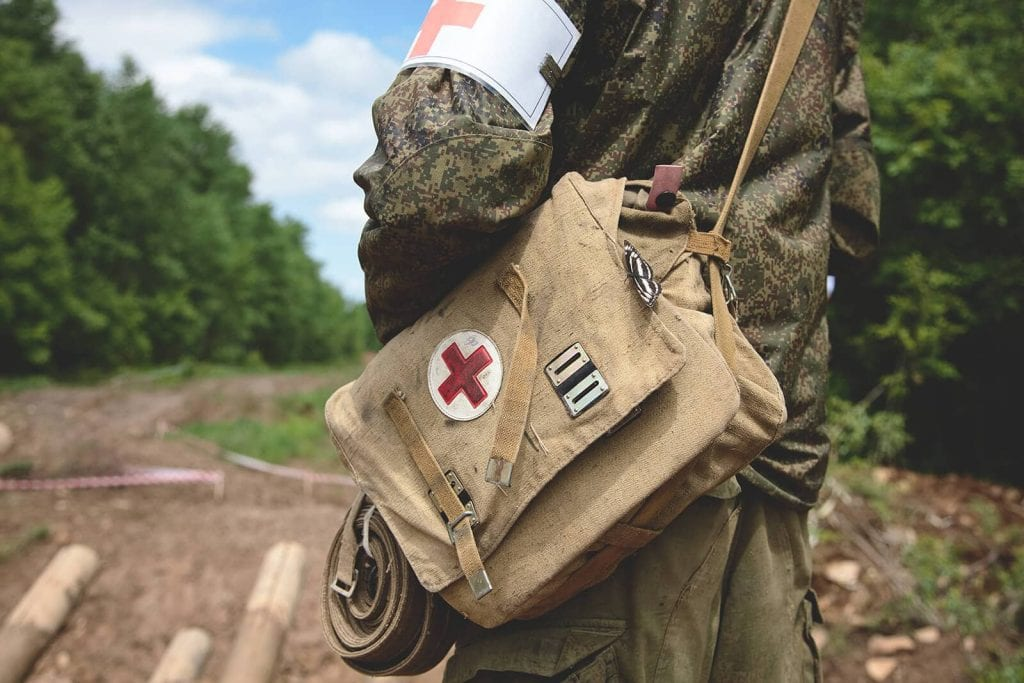 On the trail with canvas IFAK individual first aid kit