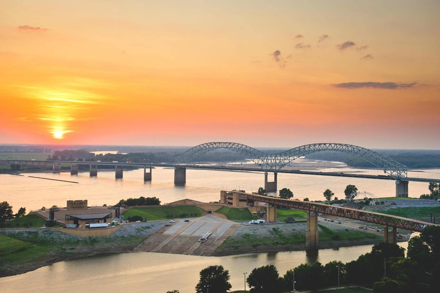 Sunset featured image high over mississippi river