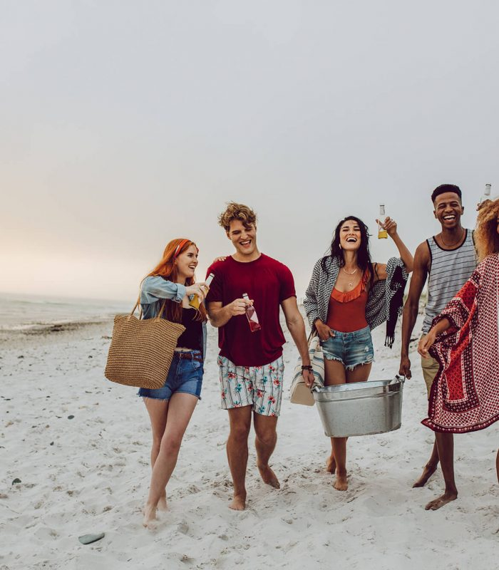 young group on beach diy super insulated cooler